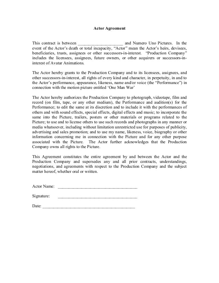 Actor Agreement Form - Actor contract template