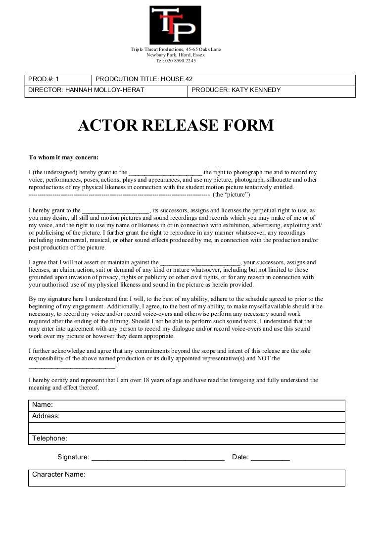 Actor release form – Publicity Release Form