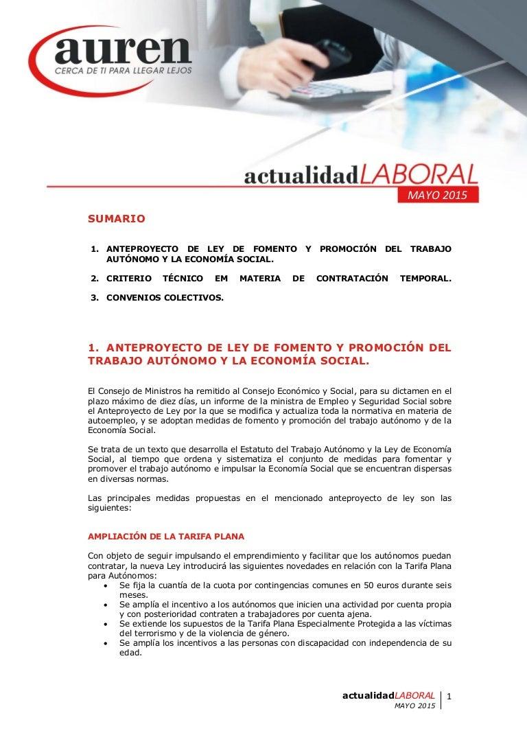 AUREN: Actualidad laboral mayo 2015