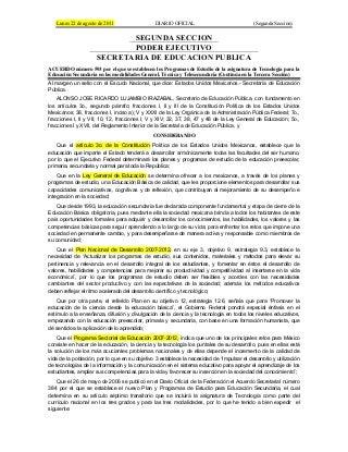 Acuerdo 593. Programa Asignatura Tecnología. Educación Secundaria.