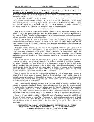 Acuerdo no. 593 se establece prog. de estud. de asign. de te