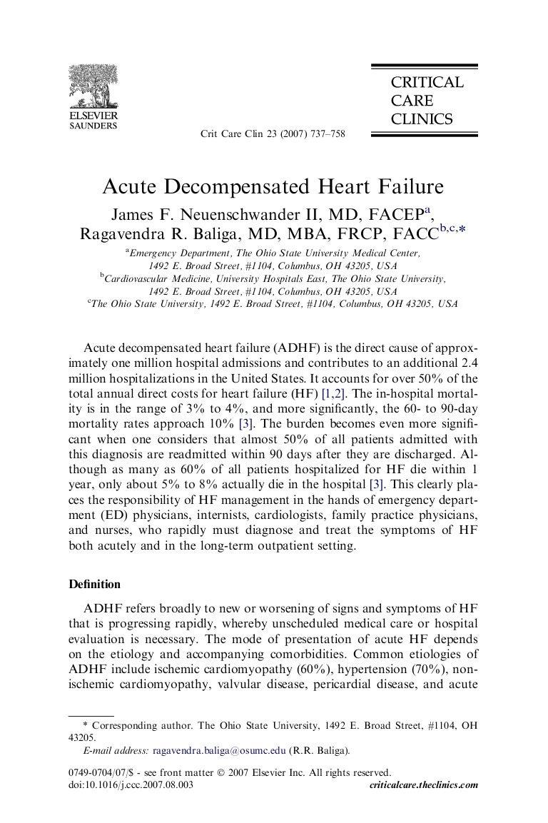 acute decompensated heart failure neunschwander
