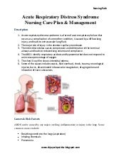 Acute respiratory distress syndrome nursing care plan & management