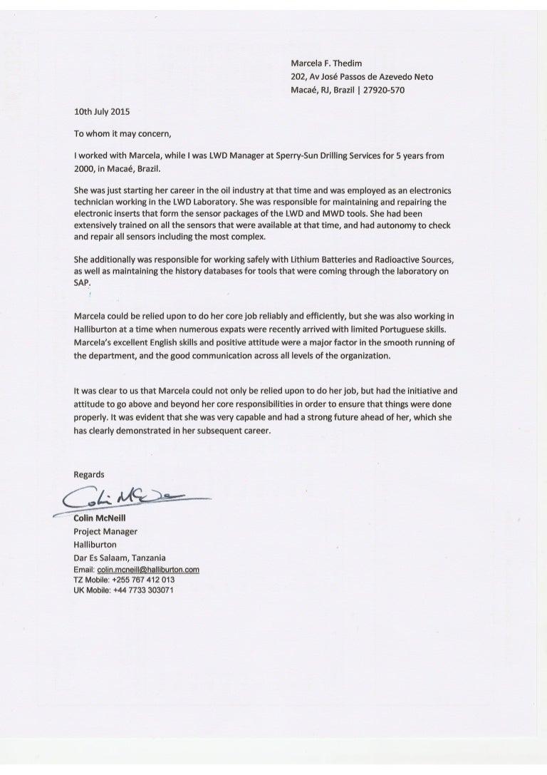 recommendation letter halliburton