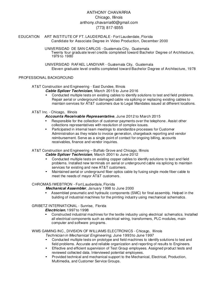 Anthony Chavarria Resume - Associates degree in architecture