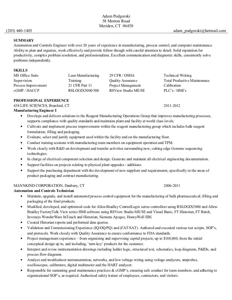 resume for automation engineer
