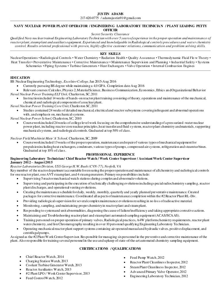 adams justin resume - Nuclear Power Plant Engineer Sample Resume