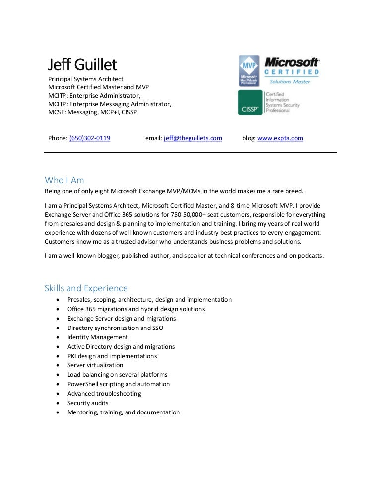 Resume Of Jeff Guillet