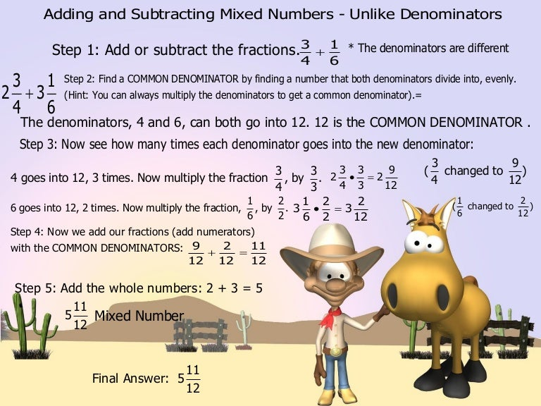 Adding And Subtracting Mixed Numbers Unlike Denominators – Adding Mixed Fractions with Different Denominators Worksheets