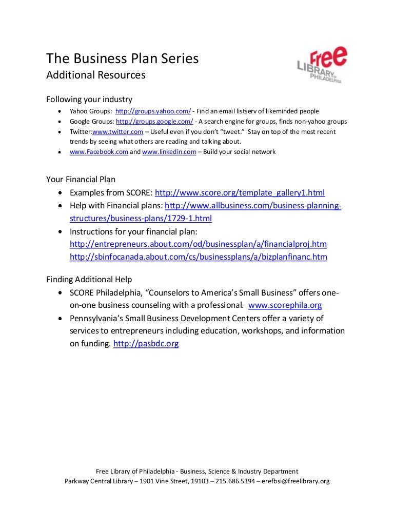 Business Plan Toolkit Additional Resources Handout - Scoreorg business plan template