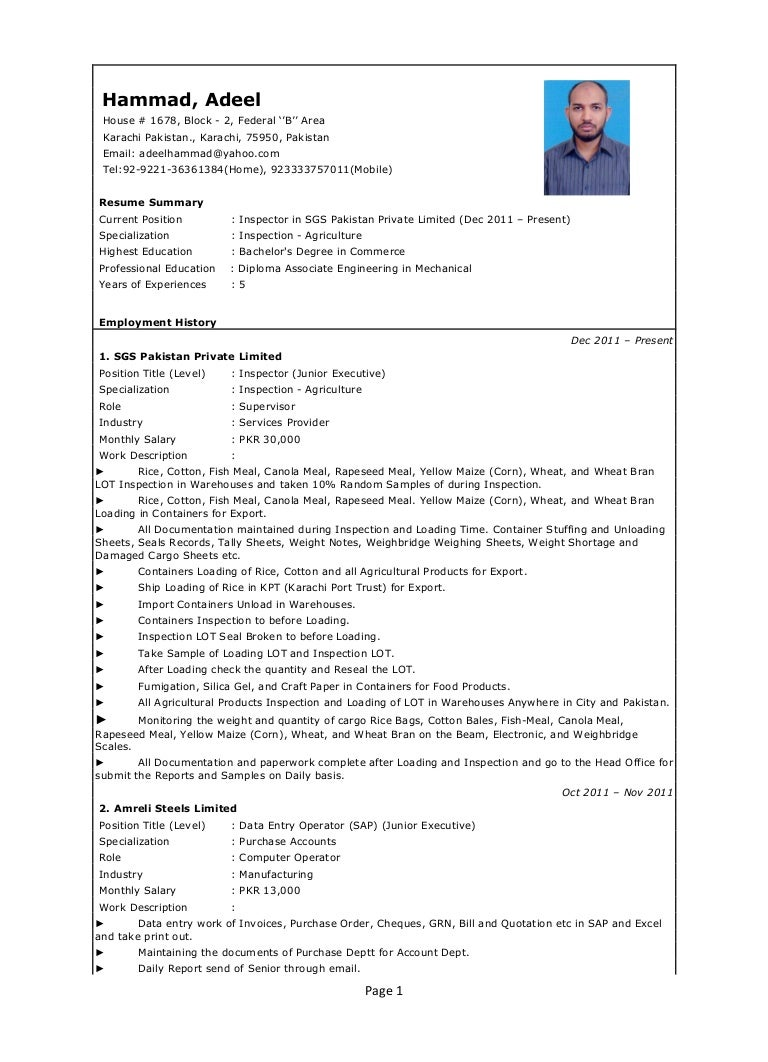 Adeel Hammad Cv New 1 With Oil amp Gas References