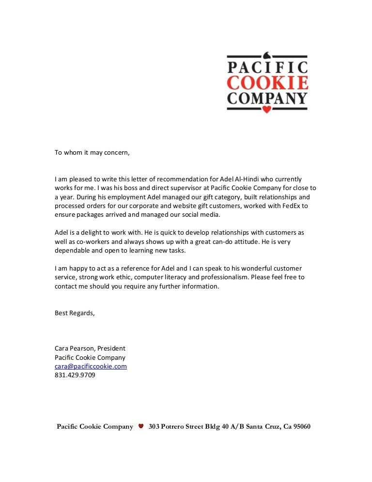 Adel letter of recommendation