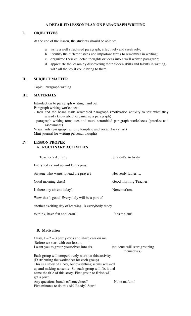 Expository Writing The Five Paragraph Essay Lesson Plan 2 Of