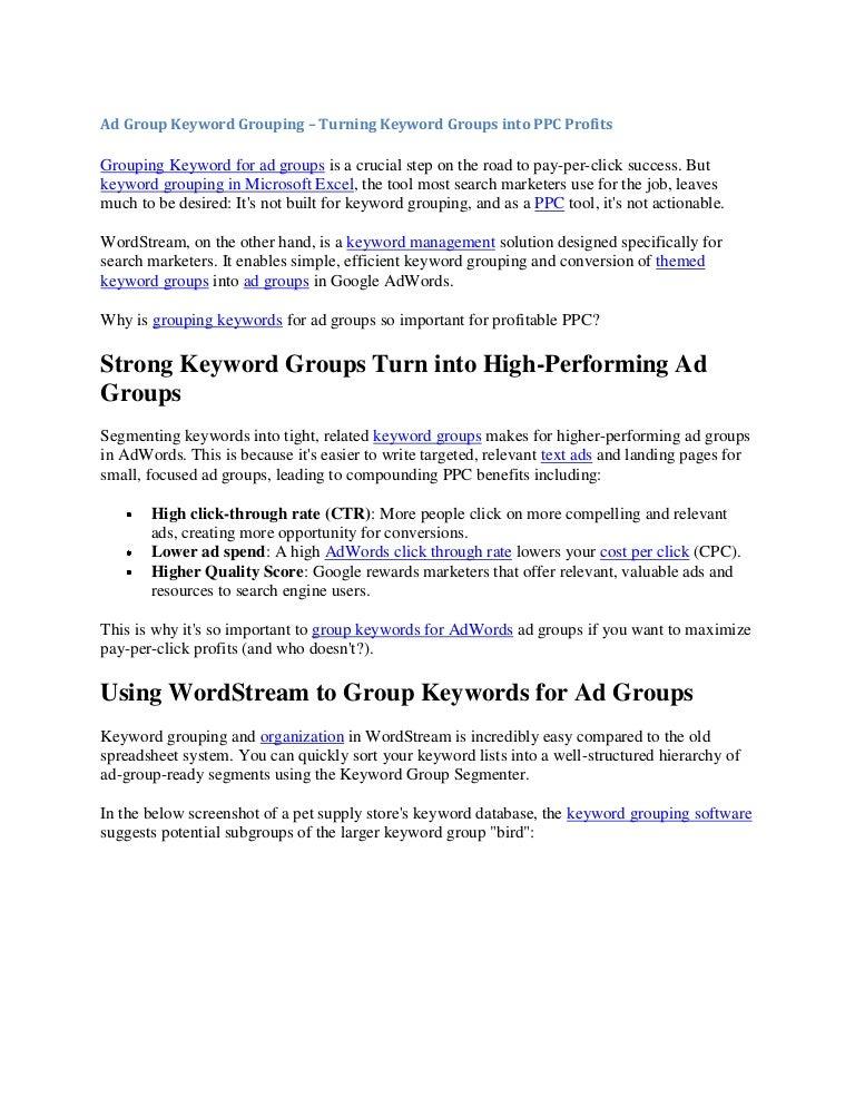 Ad group keyword grouping