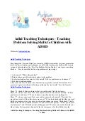 Adhd teaching techniques   teaching problem solving skills to children with adhd
