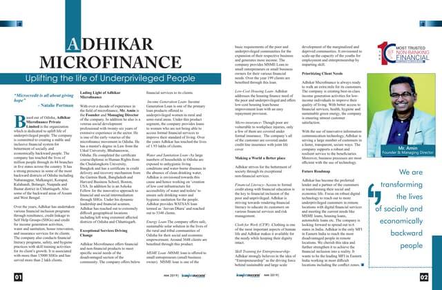 Adhikar Microfinance: Uplifting the life of Underprivileged People