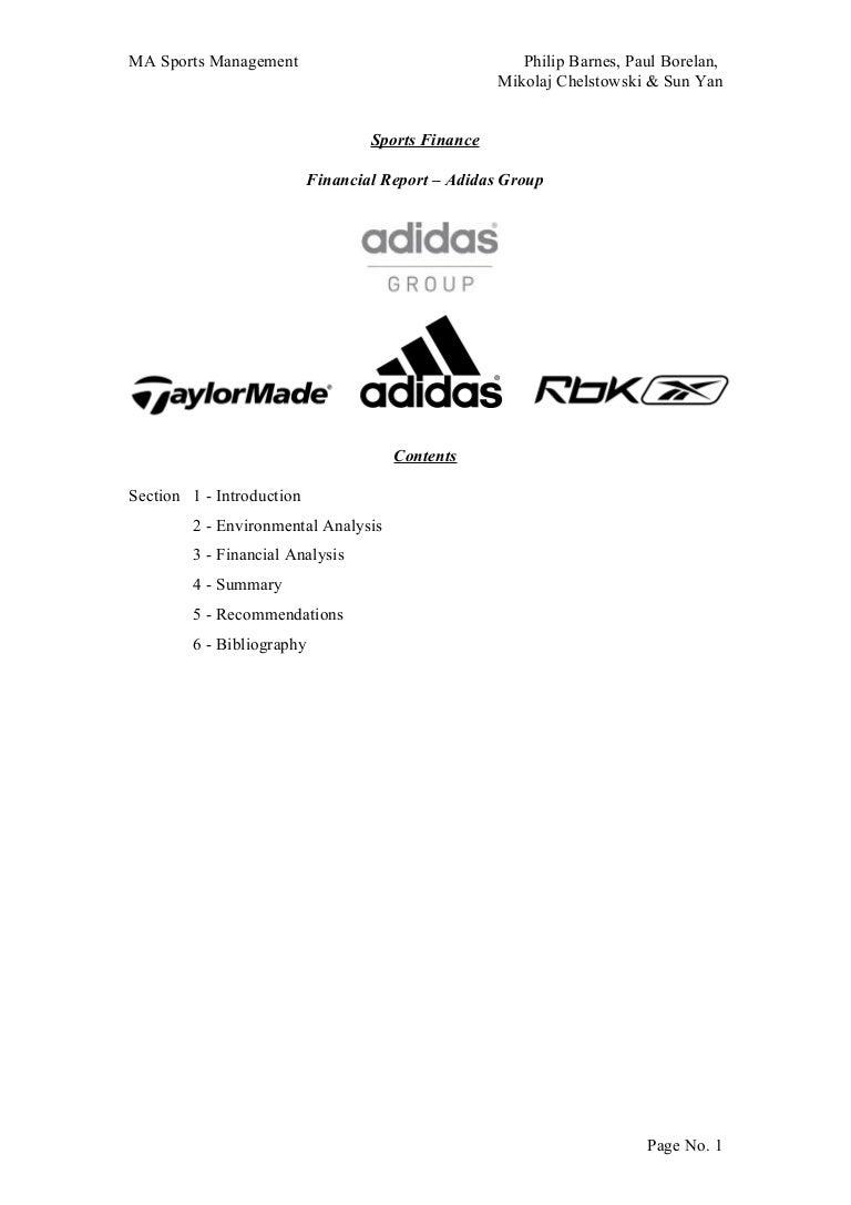 Adidas Uk Financial Report – Annual Report Analysis Sample