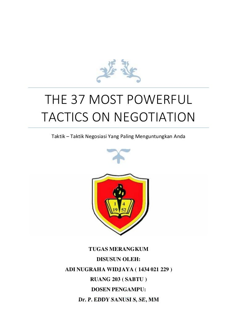 Resume Of The 37 Most Powerful Tactics Negotiation