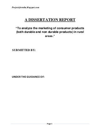 Instructions For Writing A Dissertation Report On Marketing