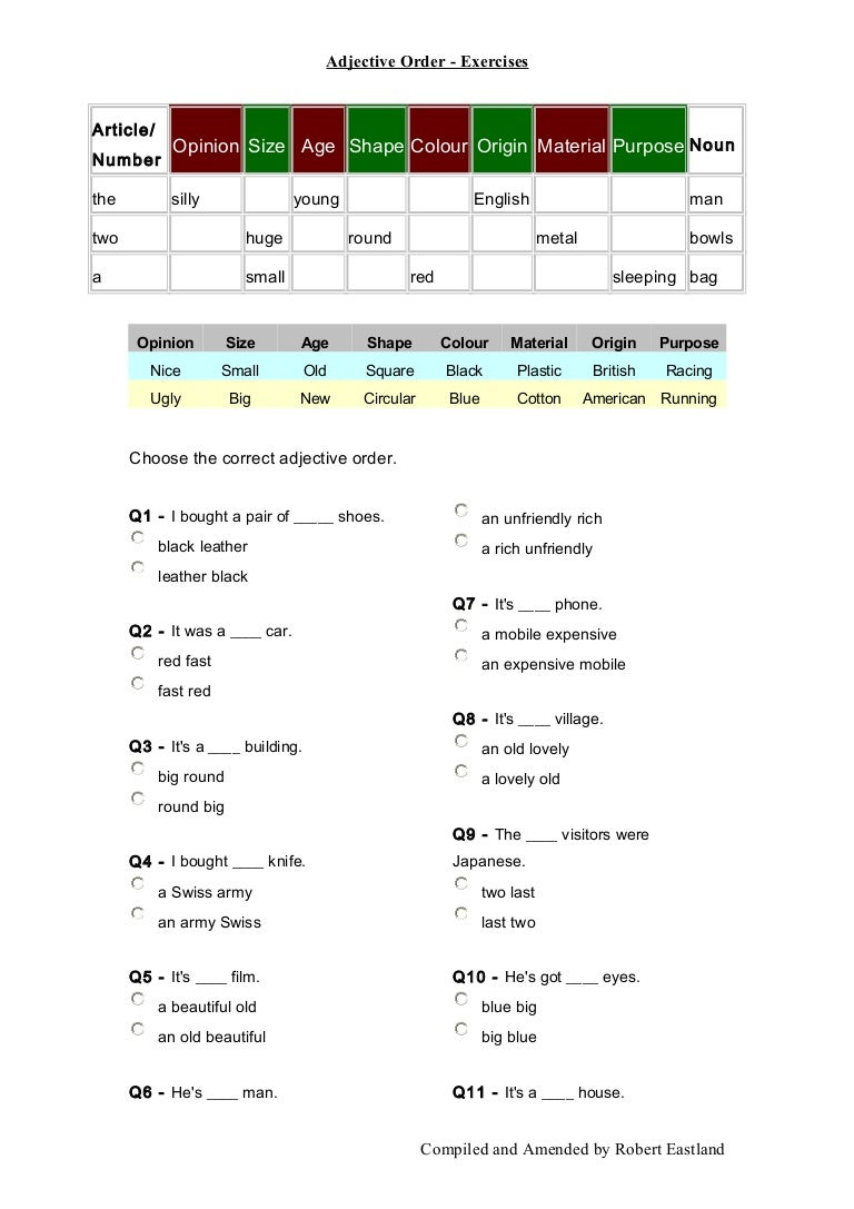 worksheet Order Of Adjectives Worksheet adjective order exercises