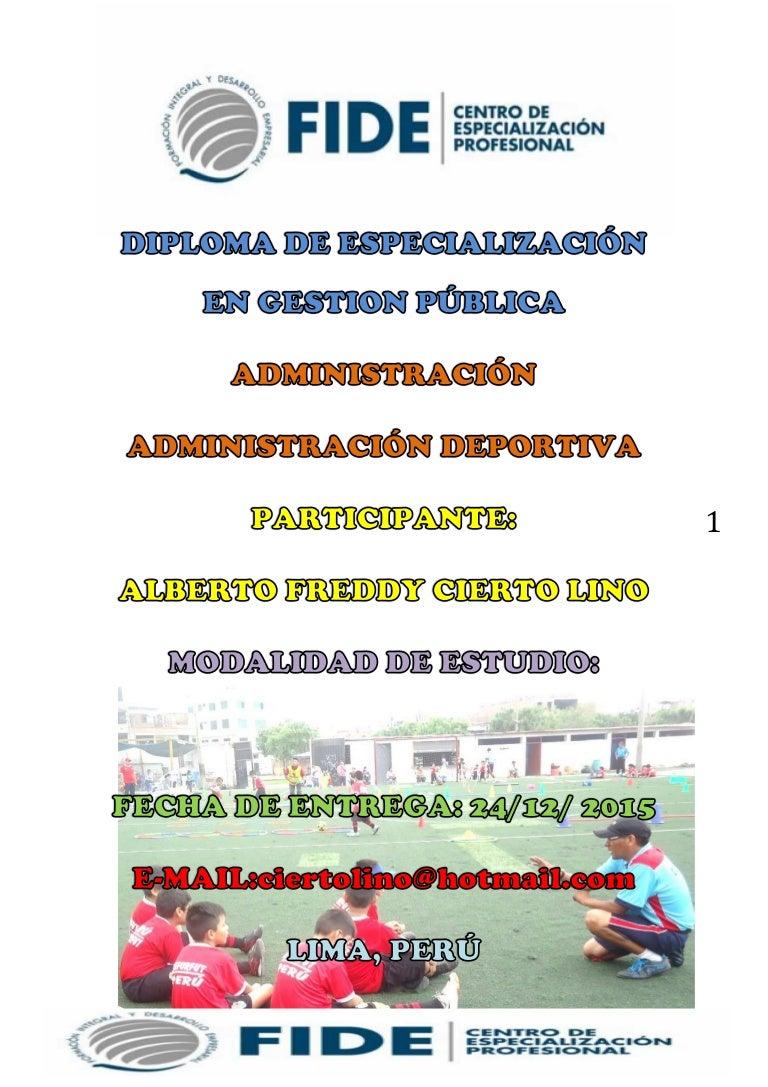 ADMINISTRACION DEPORTIVA - GESTOR PUBLICO (FIDE 2015)