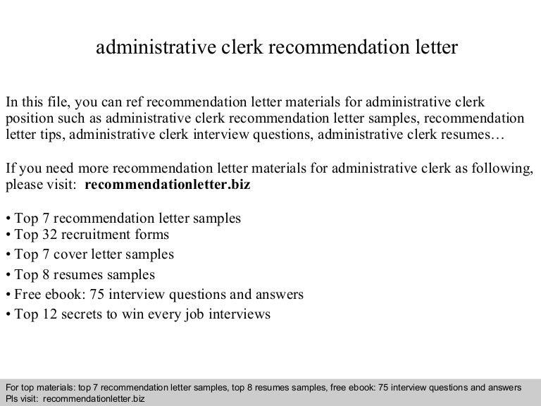 administrative clerk recommendation letter - Cover Letter For Administrative Clerk Position