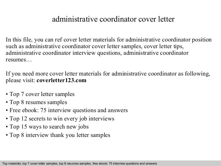 Administrative coordinator cover letter