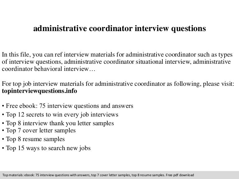 Administrative coordinator interview questions – Administrative Coordinator Cover Letter