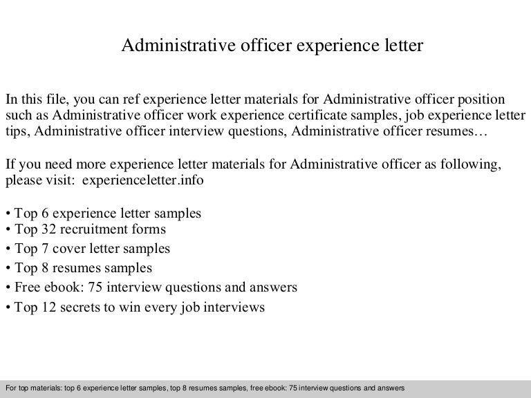 Administrative Officer Experience Letter
