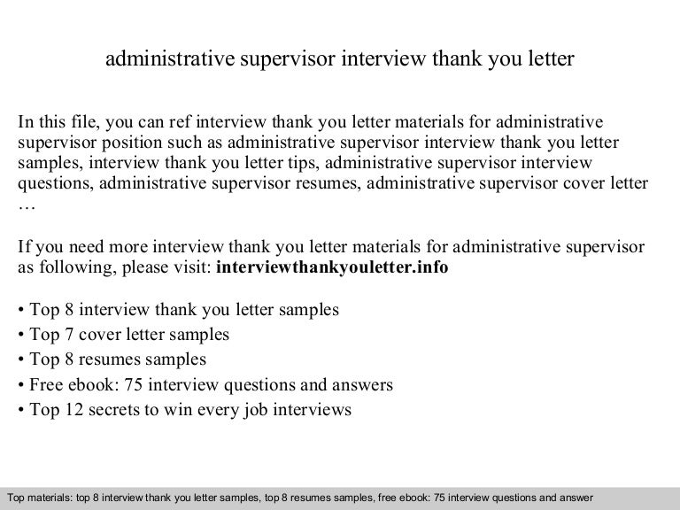 administrative supervisor - Administrative Supervisor Cover Letter