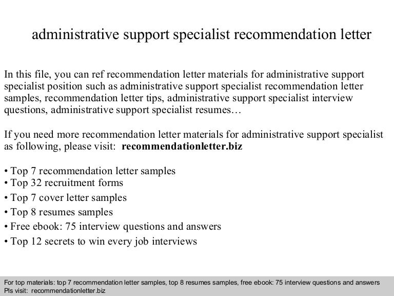 Administrative support specialist recommendation letter