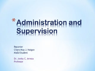 Administration and Supervision in Education