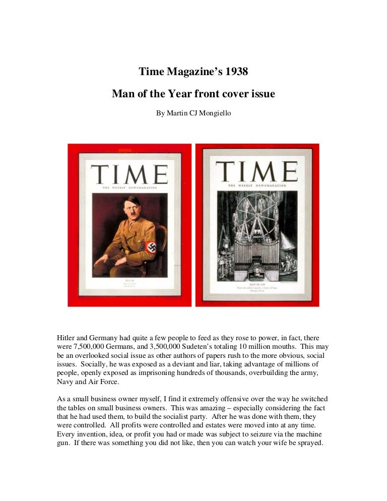 Time Magazine Person Of The Year 1938