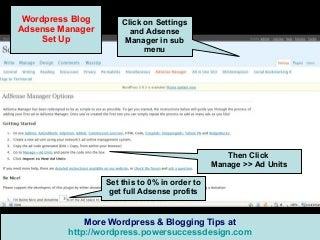 Wordpress Tips : Adsense Manager Plugin Setup