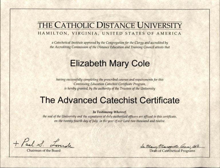 Advanced Catechist Certificate Cdu