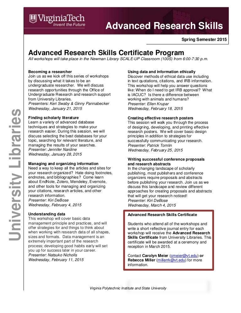 Advanced Research Skills Certificate Program