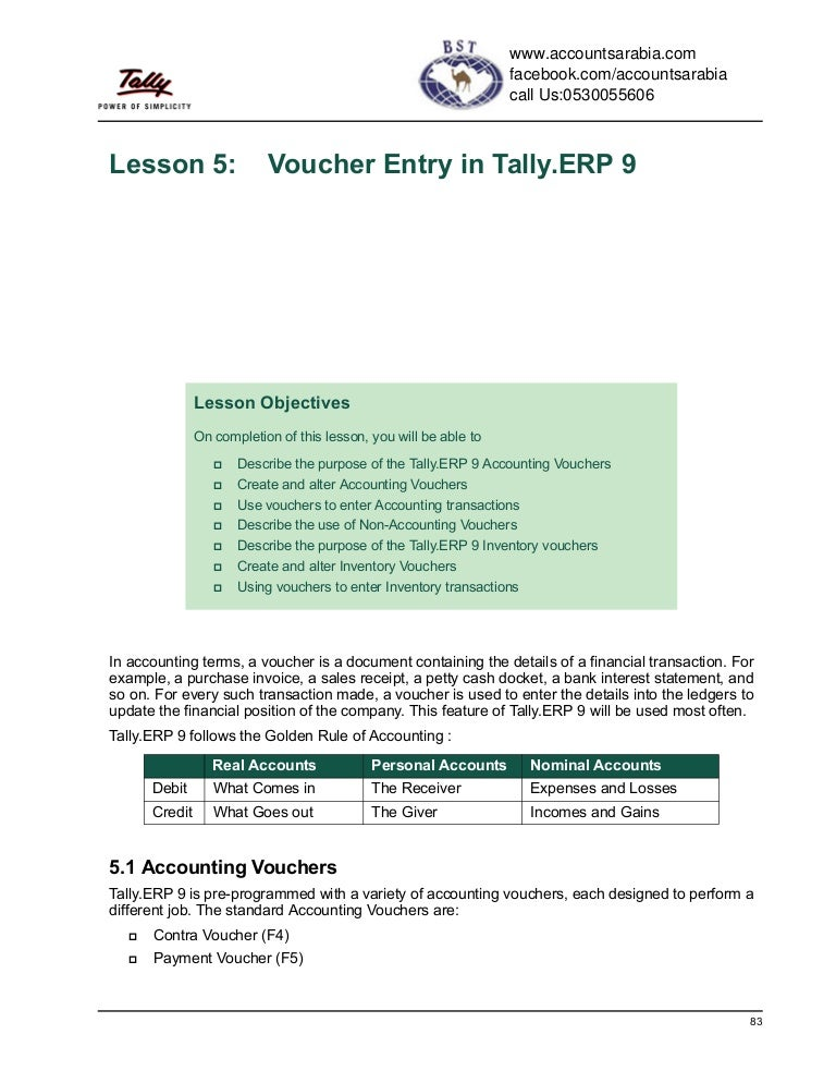 Advanced Voucher Entry Tutorial In Tally Erp 9