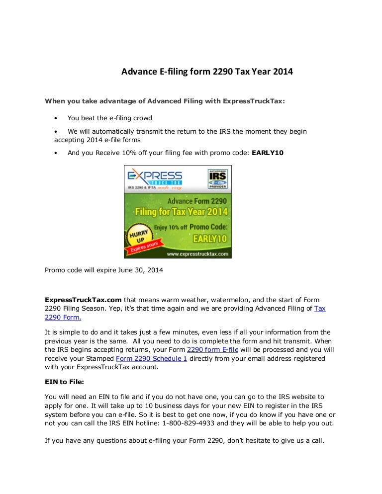 2290 form questions  Advance e filing form 11 tax year 11-11