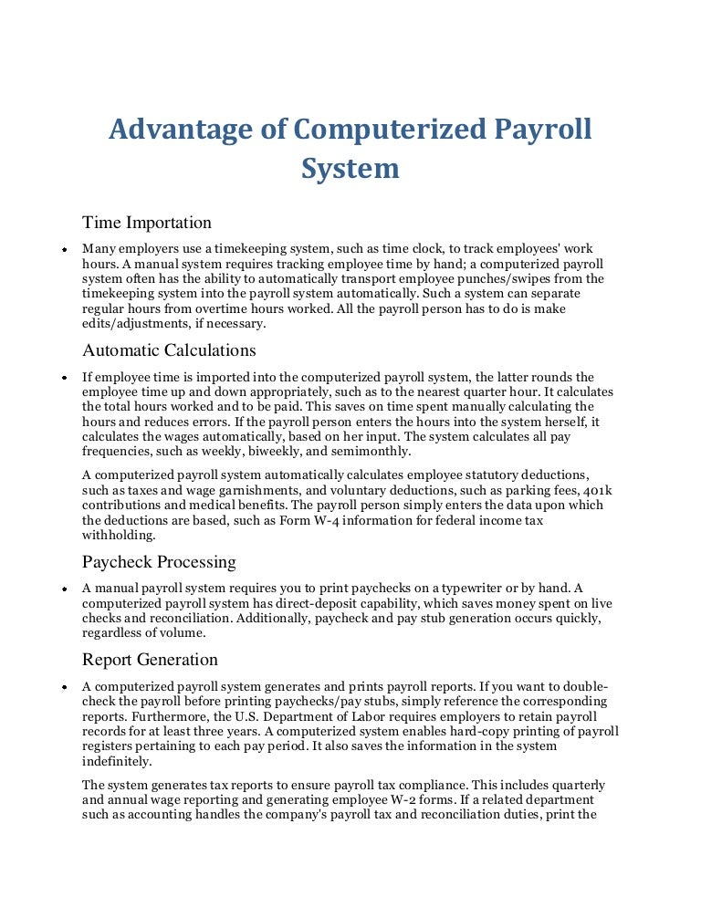 Payroll system thesis introduction