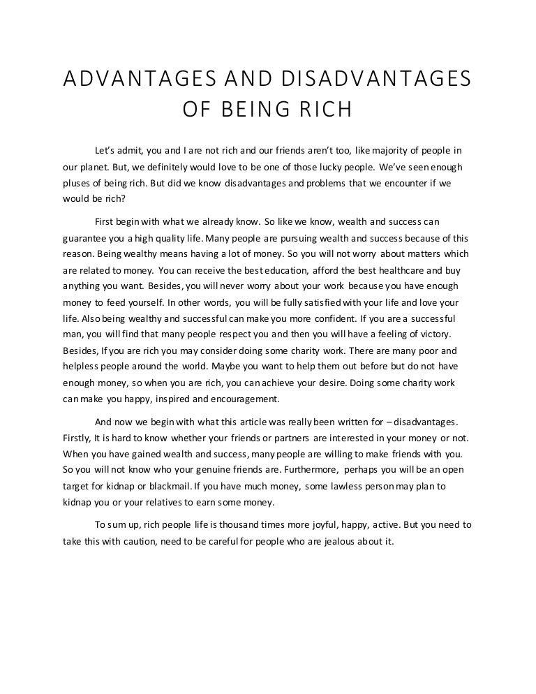 advantage and disadvantage of success