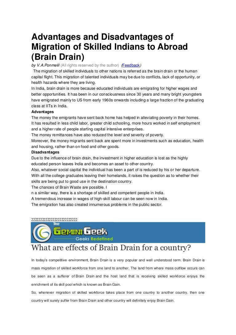 an essay on brain drain adrilicious an essay on brain drain quotes  advantages and disadvantages of migration of skilled ns to abroad reverse brain drain globalconsilium
