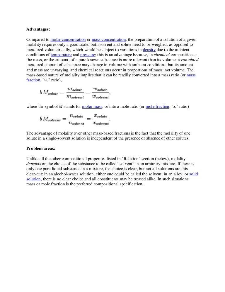 Advantages Molality