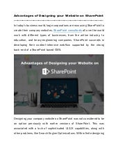 Advantages of Designing your Website on SharePoint