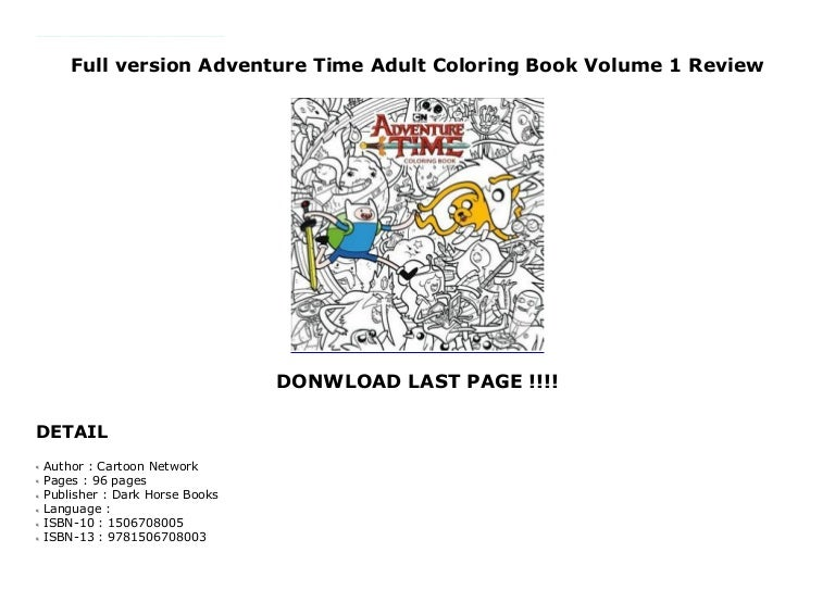 Full Version Adventure Time Adult Coloring Book Volume 1 Review