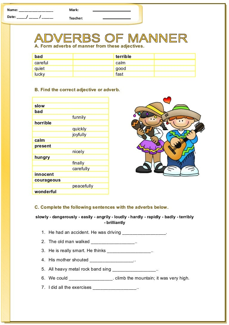 Worksheet Adverb Of Manner Exercises adverb of manner exercise scalien exercises scalien