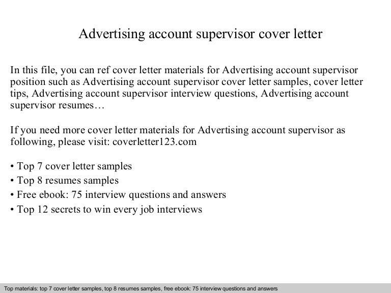 Account Supervisor Cover Letter