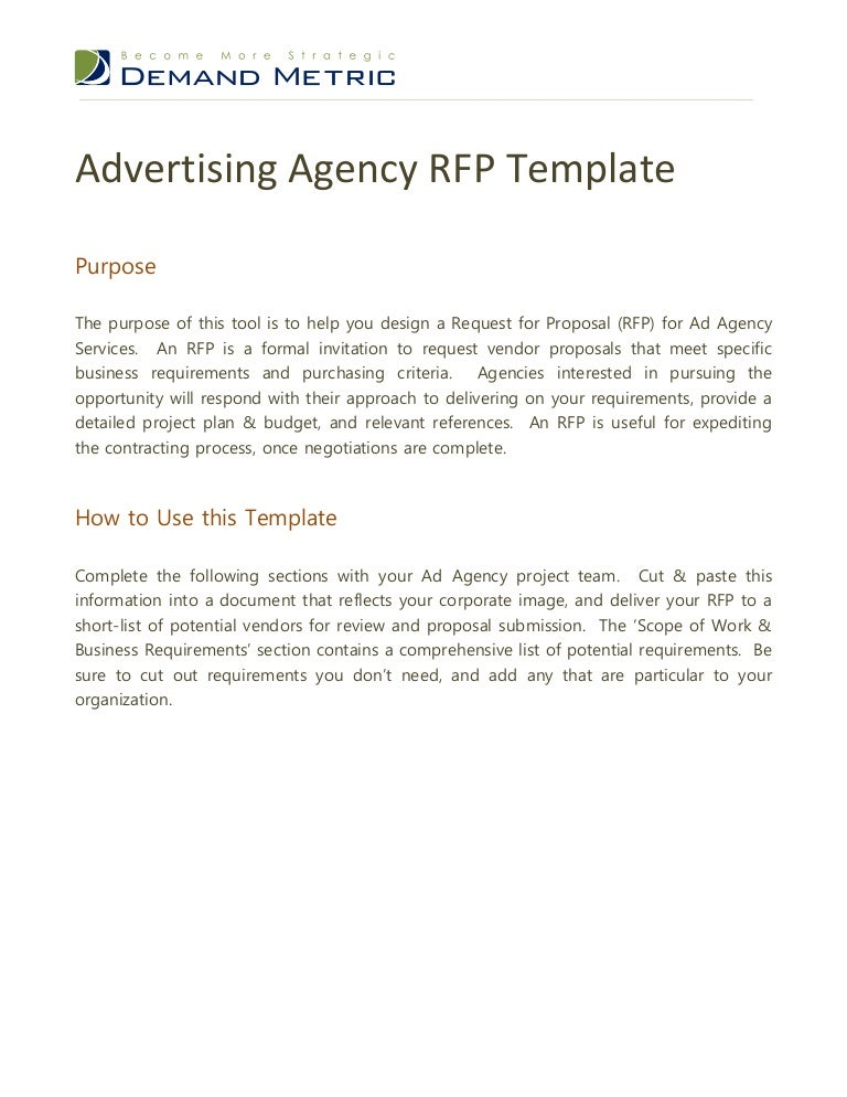 Advertising Agency Rfp Template