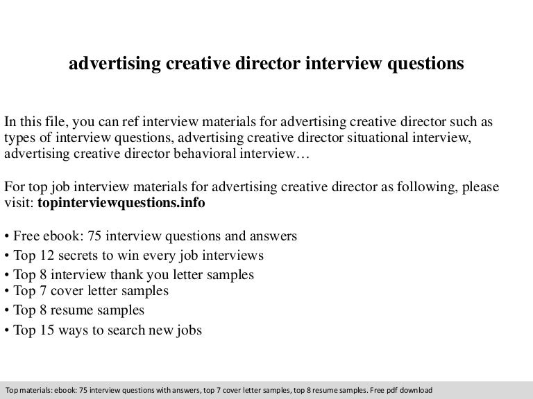 Advertising creative director interview questions