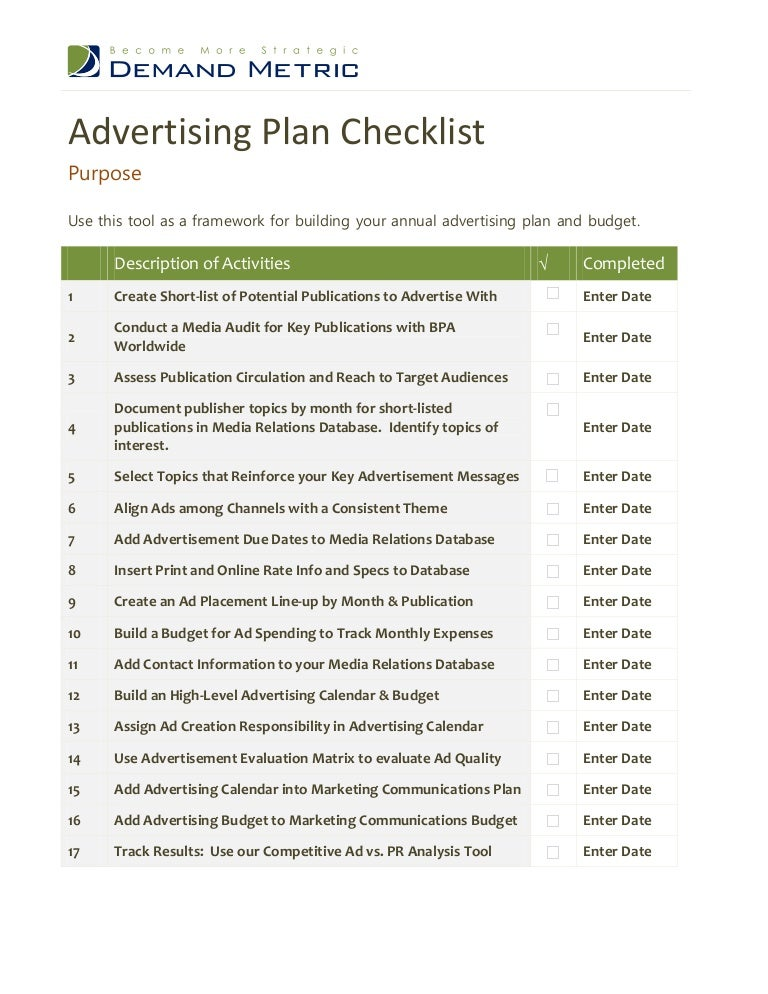 Advertising Plan Checklist