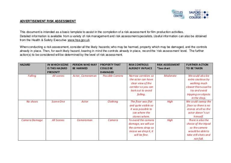 Advertising Risk Assessment Form